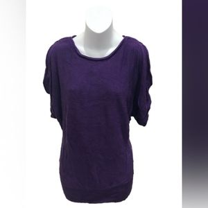 Chico's Purple Short Sleeve Cold Shoulder Sweater